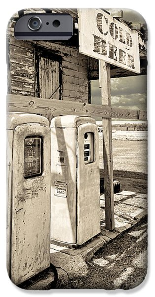 Gas Paintings iPhone Cases - Vintage Retro Gas Pumps iPhone Case by Mindy Sommers
