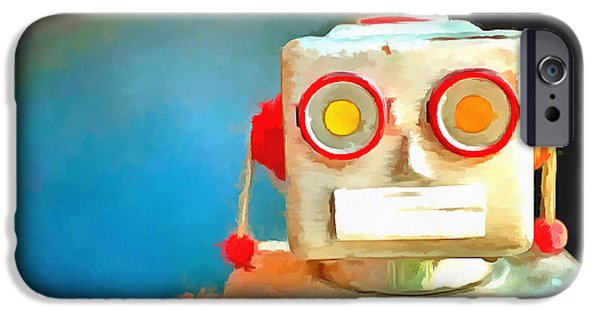 Robot iPhone Cases - Vintage Robot Toy Pop Art iPhone Case by Edward Fielding