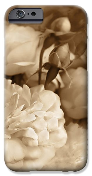 Monotone iPhone Cases - Vintage Roses Bouquet in Sepia iPhone Case by Jennie Marie Schell