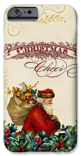 Worn In iPhone Cases - Vintage Santa Claus - Glittering Christmas 5 iPhone Case by Audrey Jeanne Roberts