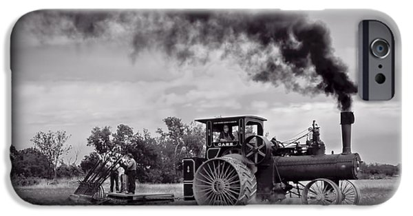 Machinery iPhone Cases - Vintage Steam Farming - Monochrome  iPhone Case by F Leblanc