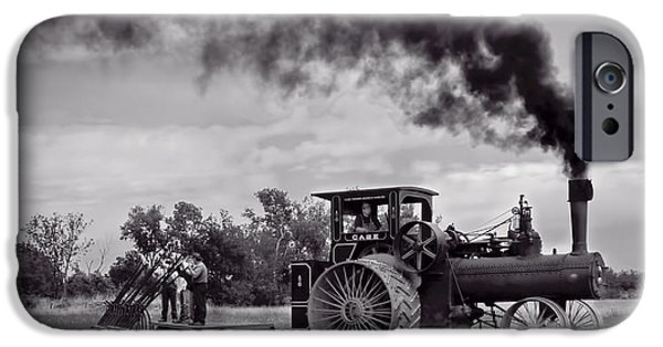Machinery iPhone Cases - Vintage Steam Farming - Monochrome Panoramic  iPhone Case by F Leblanc
