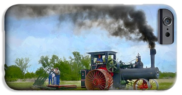 Machinery iPhone Cases - Vintage Steam Farming - Painting iPhone Case by F Leblanc