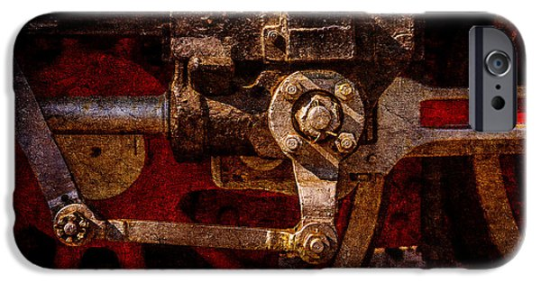 Machinery iPhone Cases - Vintage steam train drives iPhone Case by Alexander Senin
