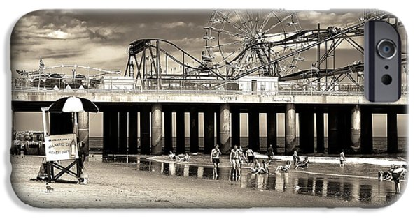 Amusements iPhone Cases - Vintage Steel Pier iPhone Case by John Rizzuto