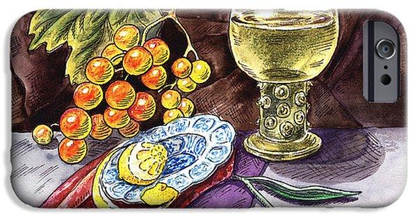 Table Wine iPhone Cases - Vintage Still Life With Grape And Lemon iPhone Case by Irina Sztukowski