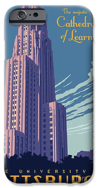 Clemente iPhone Cases - Vintage Style Cathedral of Learning Travel Poster iPhone Case by Jim Zahniser