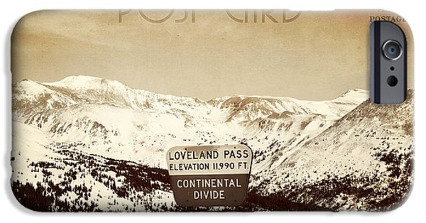 Scenic Drive iPhone Cases - Vintage Style Post Card from Loveland Pass iPhone Case by Juli Scalzi