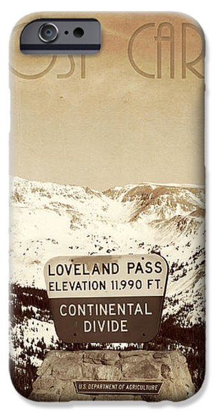 Vintage Style Post Card from Loveland Pass iPhone Case by Juli Scalzi