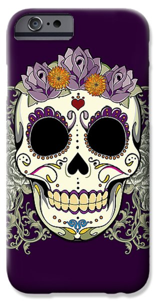 Halloween Digital iPhone Cases - Vintage Sugar Skull and Flowers iPhone Case by Tammy Wetzel