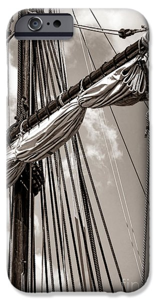 Tall Ship iPhone Cases - Vintage Tall Ship Rigging iPhone Case by Olivier Le Queinec