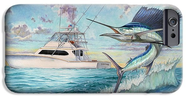 Sailfish iPhone Cases - Vintage iPhone Case by Terry  Fox