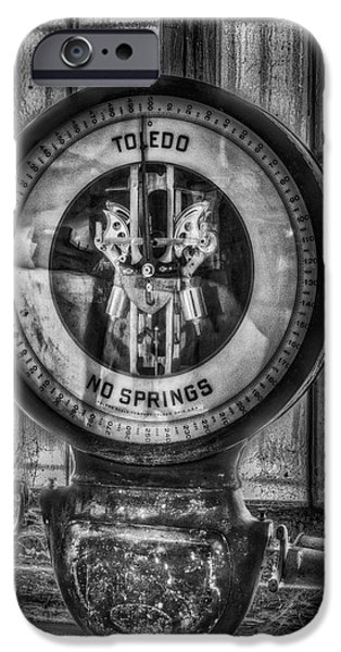 Mechanism iPhone Cases - Vintage Toledo No Springs Scale BW iPhone Case by Susan Candelario