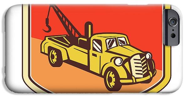 Tow Truck iPhone Cases - Vintage Tow Truck Wrecker Shield Retro iPhone Case by Aloysius Patrimonio