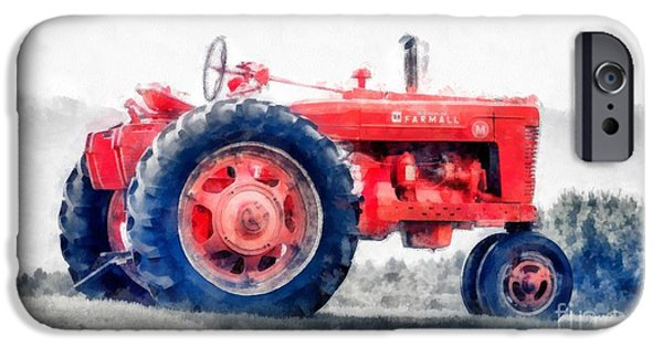 Farm iPhone Cases - Vintage Tractor Watercolor iPhone Case by Edward Fielding