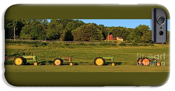 John Deere Tractor iPhone Cases - Vintage Tractors Sunset Panoramic iPhone Case by Edward Fielding