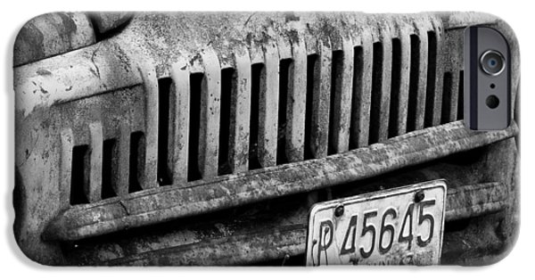 Old Cars iPhone Cases - Vintage Truck Fine Art Black and  White Print iPhone Case by Ed Petersen