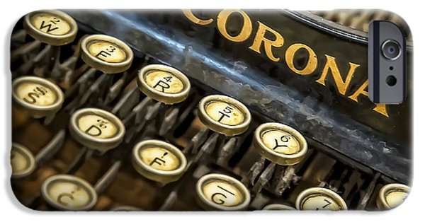 Typewriter Keys Photographs iPhone Cases - Vintage Typewriter iPhone Case by Scott Norris