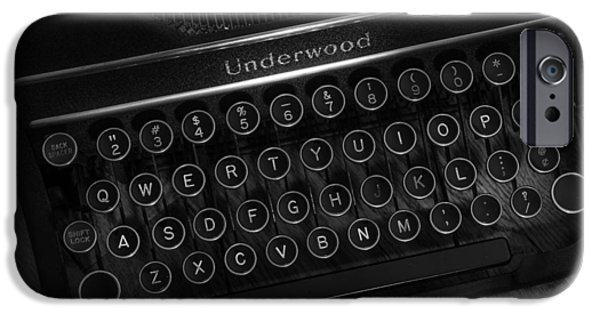 Sheets iPhone Cases - Vintage Underwood Typewriter Black and White iPhone Case by Terry DeLuco