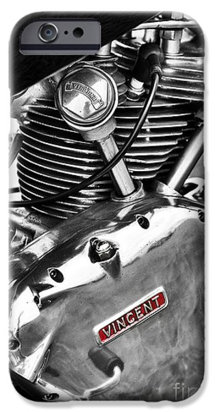 Polish Culture iPhone Cases - Vintage Vincent Comet Engine iPhone Case by Tim Gainey