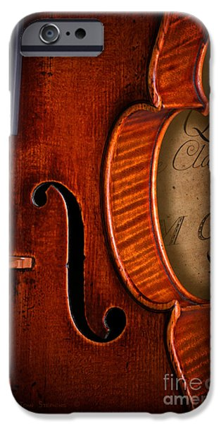 Sheets iPhone Cases - Vintage Violin With Antique Mozart Sheet Music iPhone Case by John Stephens