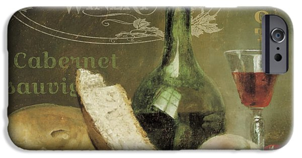 Wine Bottles iPhone Cases - Vintage Wine-JP3188 iPhone Case by Jean Plout