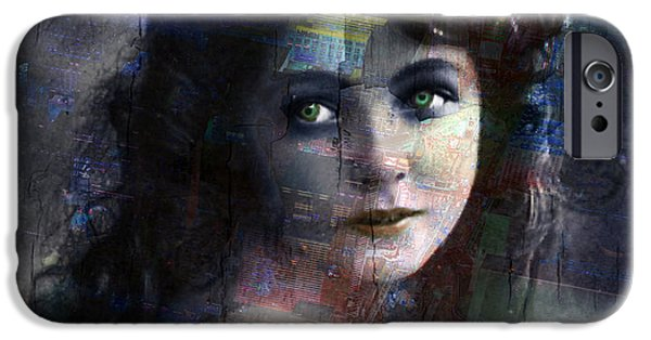 Technical iPhone Cases - Vintage Woman Pop With Modern Highlights Blue Square iPhone Case by Tony Rubino