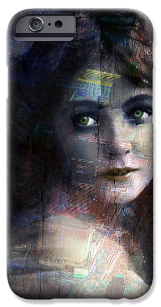 Technical iPhone Cases - Vintage Woman Pop With Modern Highlights Blue Vertical  iPhone Case by Tony Rubino