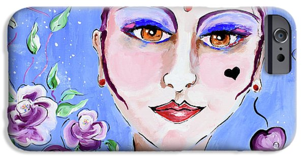 Beauty Mark iPhone Cases - Violeta - Woman Face Art by Valentina Miletic iPhone Case by Valentina Miletic