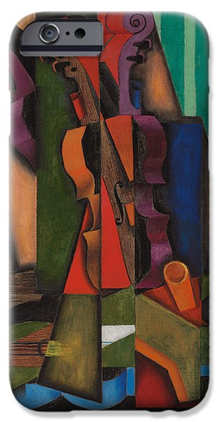 Guitar Paintings iPhone Cases - Violin and Guitar iPhone Case by Juan Gris