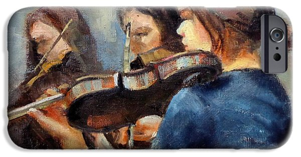 Donna Shortt iPhone Cases - Violin Practice iPhone Case by Donna Shortt