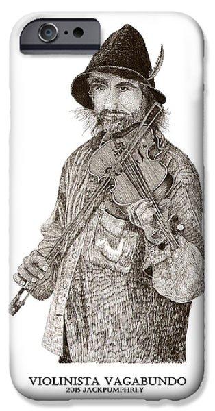 The World Is Money iPhone Cases - Violinista Busker Vagabundo iPhone Case by Jack Pumphrey