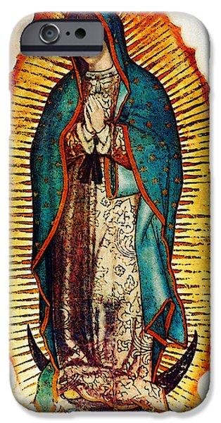 Virgin Mary iPhone Cases - Virgen de Guadalupe iPhone Case by Bibi Romer