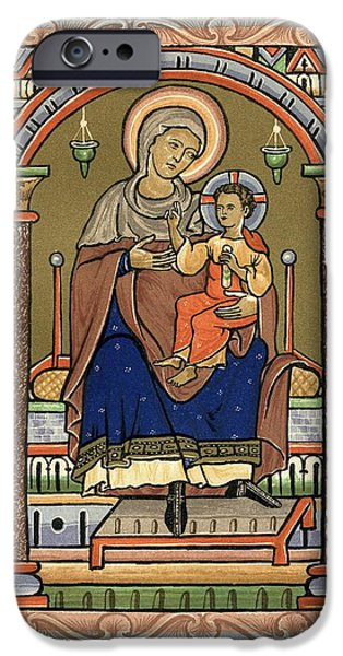 Religious Drawings iPhone Cases - Virgin And Child, 13th Century. From iPhone Case by Ken Welsh