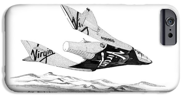 Spaceplane iPhone Cases - Virgin Atlantics Space Ship Two iPhone Case by Jack Pumphrey