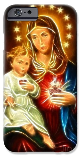 Jesus Crucifiction iPhone Cases - Virgin Mary And Baby Jesus Sacred Heart iPhone Case by Pamela Johnson