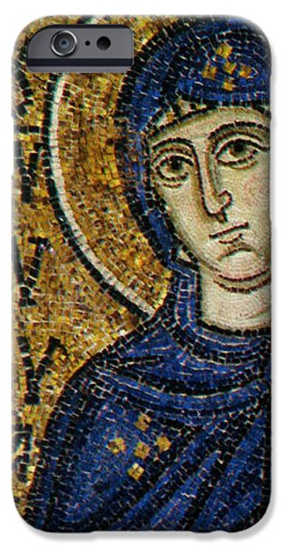 Icons Reliefs iPhone Cases - Virgin Mary iPhone Case by Byzantine School