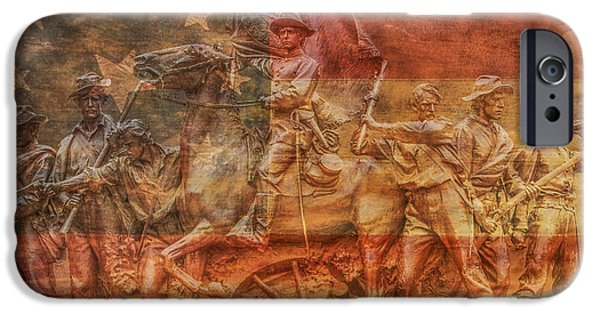 Statue Of Confederate Soldier iPhone Cases - Virginia Monument at Gettysburg Battlefield iPhone Case by Randy Steele
