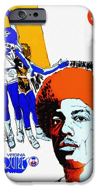 Dr. J iPhone Cases - Virginia Squires Vintage Program iPhone Case by Big 88 Artworks