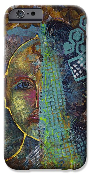 Virtual Paintings iPhone Cases - Virtual portrait iPhone Case by Vipula Saxena