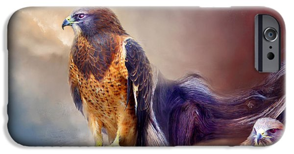 Hawk Art Print iPhone Cases - Vision Of The Hawk 2 iPhone Case by Carol Cavalaris