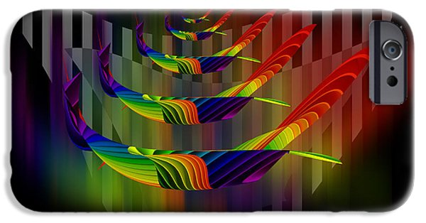 Stripes iPhone Cases - Vivid Emotions digital abstract painting iPhone Case by Georgeta Blanaru
