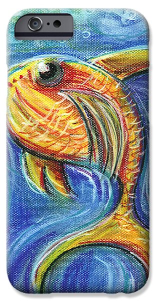 For Children Pastels iPhone Cases - Vivid Fish For Children Pastel Chalk Drawing iPhone Case by Frank Ramspott