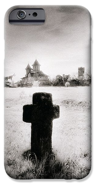 Tombstones iPhone Cases - Vlad Draculas Palace iPhone Case by Simon Marsden