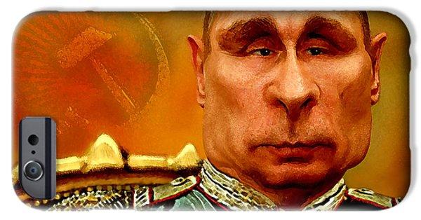 Politician iPhone Cases - Vladimir Putin iPhone Case by Hans Neuhart