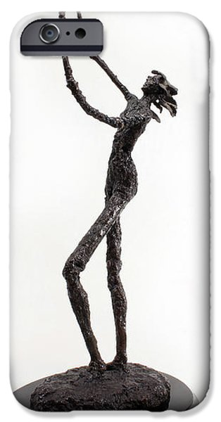 Figure Sculptures iPhone Cases - Votary of the Rain a sculpture by Adam Long iPhone Case by Adam Long