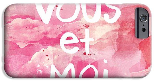 Romantic Art iPhone Cases - Vous Et Moi iPhone Case by Linda Woods
