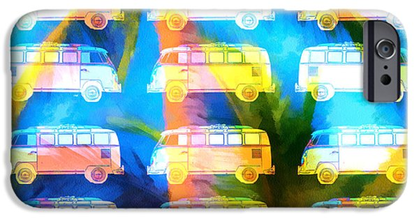 Colorful Abstract Photographs iPhone Cases - VW Surfer Van Palm Tree iPhone Case by Edward Fielding