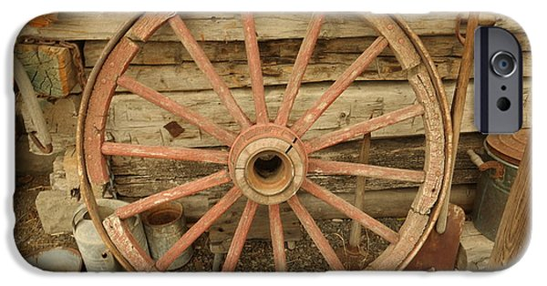 Wooden Wagons iPhone Cases - Wagon Wheel iPhone Case by Jeff  Swan