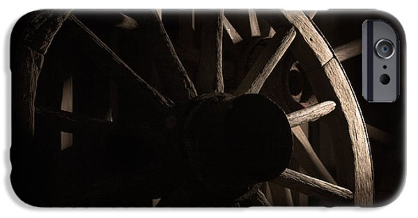 Old Barns iPhone Cases - Wagon Wheels iPhone Case by Eugene Campbell
